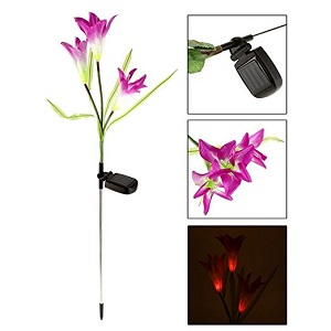 Ecoolbuy Solar Power Purple Lily Flower